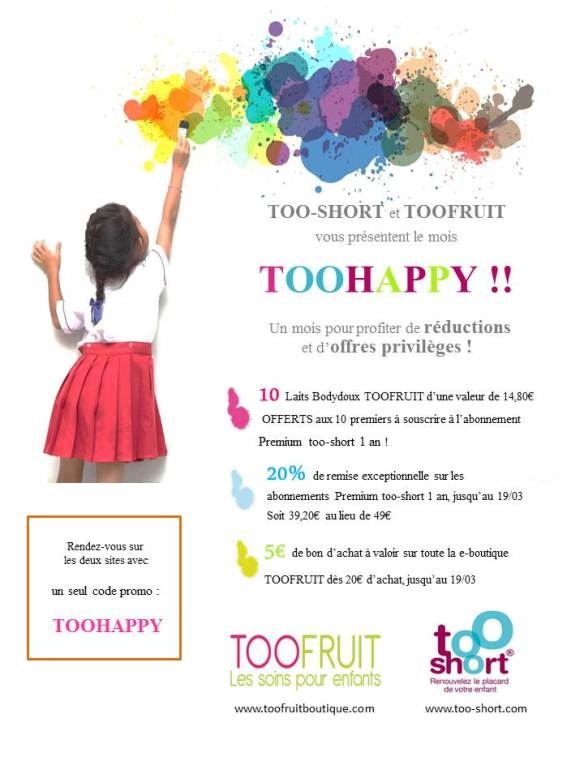 opération offres TOOHAPPY too-short toofruit réduction too-short.com