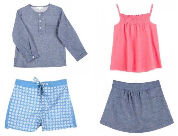 Ensemble garçon : chemise col Mao, 16 euros et short de bain, 16 euros. Ensemble fille : débardeur rose, 14 euros et jupe denim, 15 euros.
